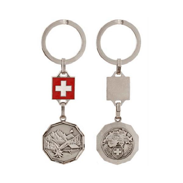 Брелок металевий десятигранний  з картою Швейцарії / 71-0465