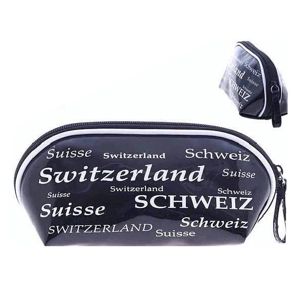 Косметичка чорно-біла з написом Швейцарія  / 72-1321