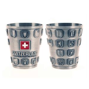 Металевий кубок 80 мл з кантональним гербом Швейцарії / 75-0021
