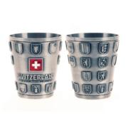 Металевий кубок 80 мл з кантональним гербом Швейцарії / 75-0021: фото 1