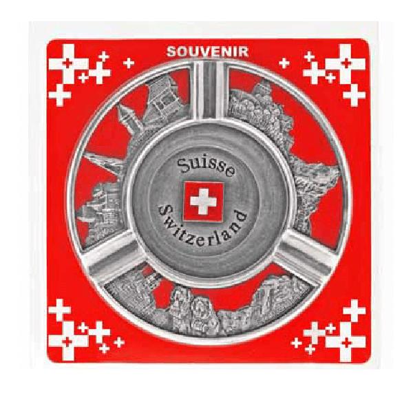 Попільничка металева кругла з рельєфними видами та гербом Швейцарії / 75-0041