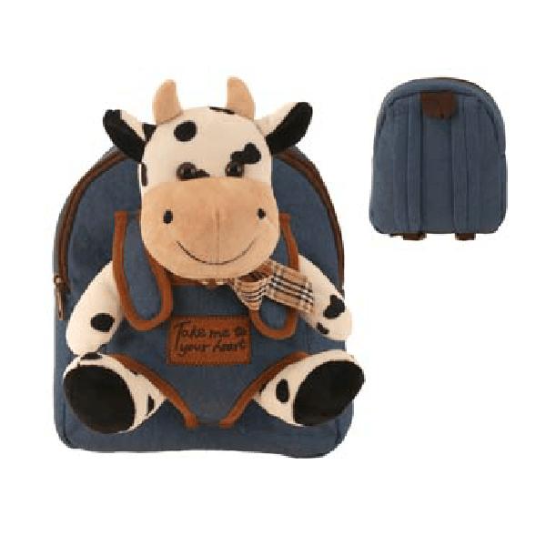 Джинсовий рюкзак з плюшевою коровою 22х30 см / 73-0118
