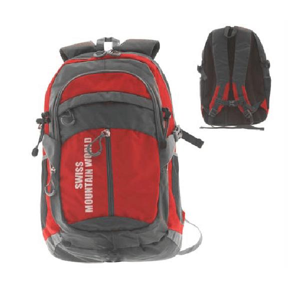 Рюкзак нейлоновий червоно-сірий «Швейцарський гірський світ», 50x32x68см /  72-1044