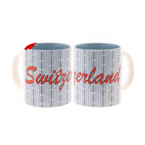 Чашка світло-блакитна з едельвейсом та написом Швейцарія / 78-0992