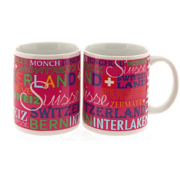 Керамічна рожева чашка з написом Швейцарія та назвами місць / 78-1103