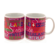 Керамічна рожева чашка з написом Швейцарія та назвами місць / 78-1103: фото 1