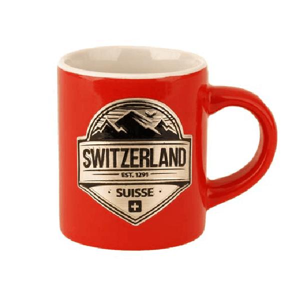 Міні-Кухоль червоний із срібним гербом Швейцарія / 78-0721
