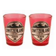 Червона скляна чарка з сраблястою емблемою Швейцарії / 78-0721: фото 2