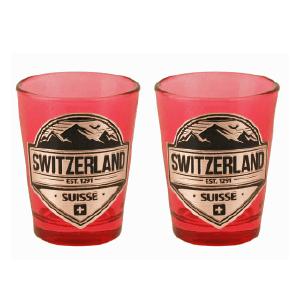Червона скляна чарка з сраблястою емблемою Швейцарії / 78-0721