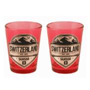 Червона скляна чарка з сраблястою емблемою Швейцарії / 78-0721: фото 1