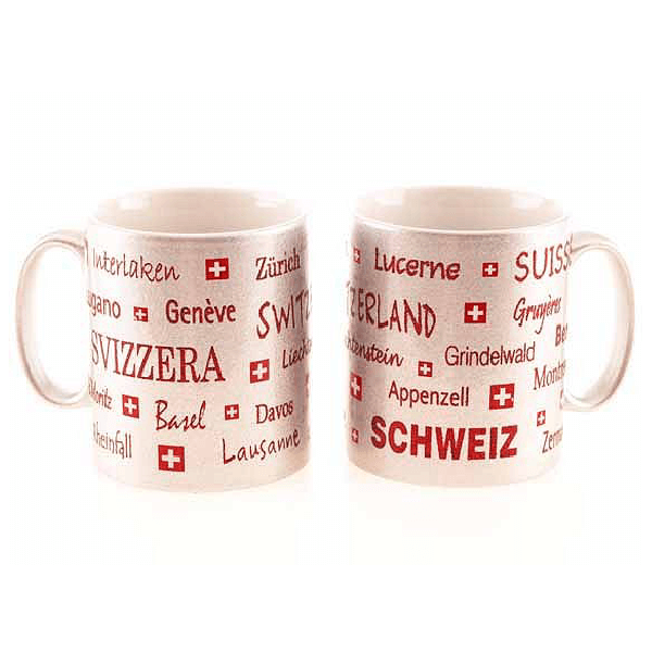 Срібляста чашка з написами місць Швейцарії / 78-0977