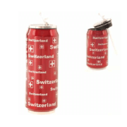 Металева термобаночка 500 мл червона із срібними літерами Швейцарія / 75-0046: фото 2