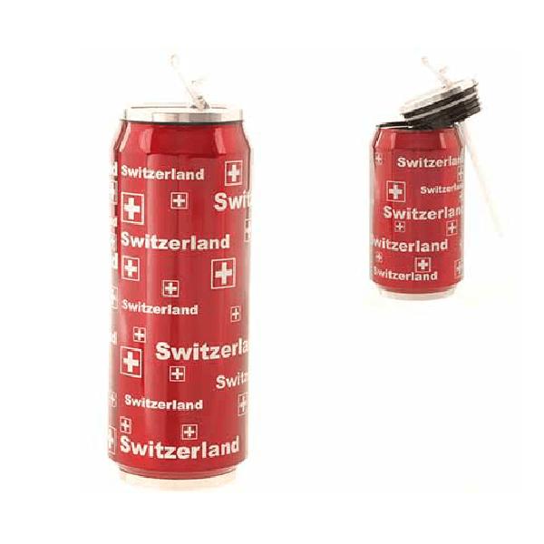 Металева термобаночка 500 мл червона із срібними літерами Швейцарія / 75-0046