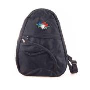 Сумка чорна з вишивкою альпійських квітів / 72-0594: фото 1