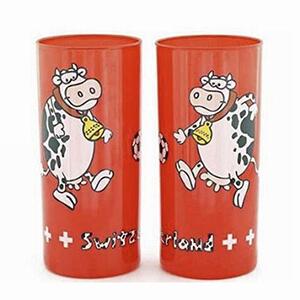 Стакан красный с коровой и футбольным мячом