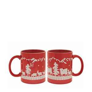 Чашка красный металлик с альпийскими мотивами