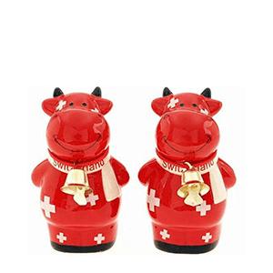Набор соль и перец «Красная корова в шарфе с звоночком»»