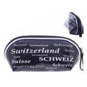 Косметичка черно-белая  с надписью Швейцария: фото 1