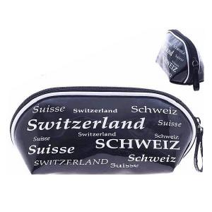 Косметичка черно-белая  с надписью Швейцария