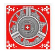 Пепельница металлическая круглая с рельефными видами и гербом Швейцарии: фото 2