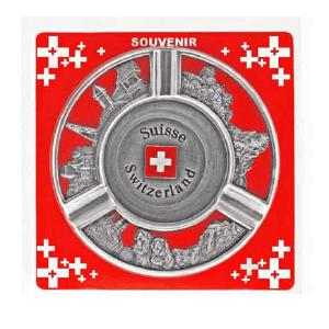 Пепельница металлическая круглая с рельефными видами и гербом Швейцарии