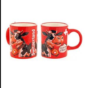 Чашка красная с изображением коровы и звуком коровы