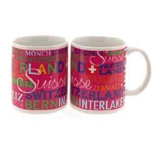Керамическая розовая чашка з надписью Швейцария и названиями городов