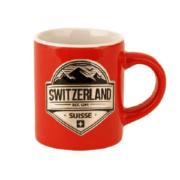 Мини-кружка красная с серебряным гербом Швейцария: фото 1