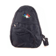 Сумка черная с вышивкой альпийских цветов / 72-0594: фото 1