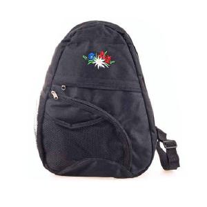 Сумка черная с вышивкой альпийских цветов / 72-0594