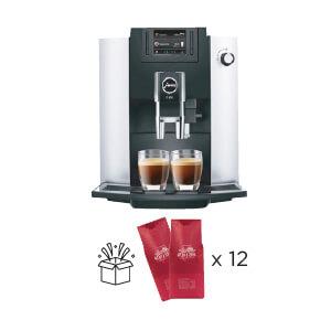 Кофеварка Jura E6 Platin + 12  кг кофе Blasercafe